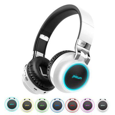 Over-Ear Fordable LED Wireless Bluetooth Bass Stereo Headphone Headset Mic/FM/TF sports wireless behind the neck mp3 headphones w tf fm usb black green
