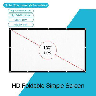 100 Portable Foldable Projector Screen Home Cinema Outdoor Projection HD