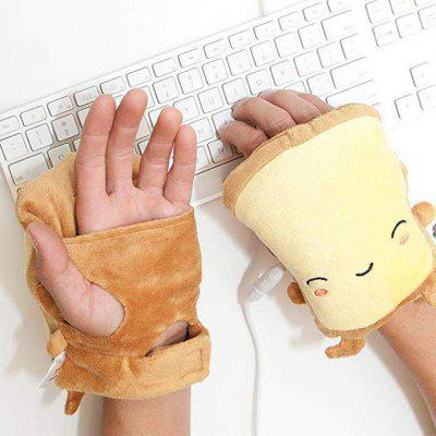 Toast USB Hand Warmers Cute Heating Gloves Half Wearable Fingerless