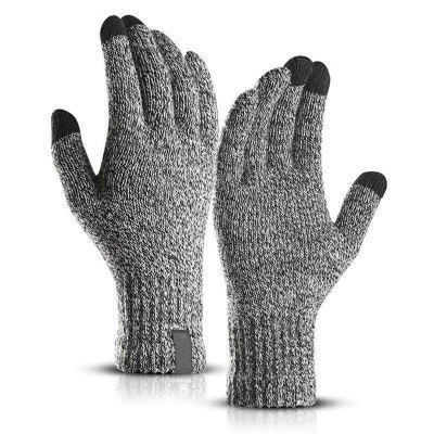 1 Pair Men Women Touch Screen Gloves Winter Warm Fleece Lined Thermal Knitted Black Hot