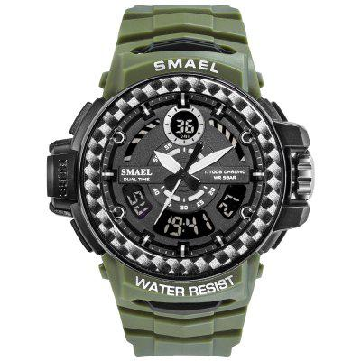 Men Watches 2019 Luxury Brand Smael Digital Wristwatches Clock Army Green Waterproof Dual Time 8014 Sport Military