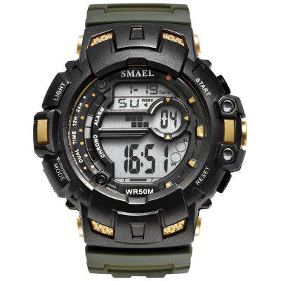 LED Digital Wrsitwatches SMAEL Army Green Clocks Men S Shock Resistant Military Watches Band 1532A Sport Wtaches 50M Waterproof