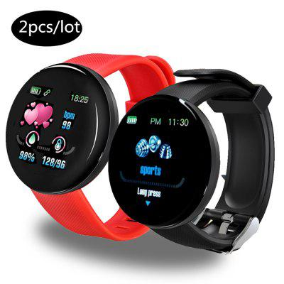 2PCS D18 Bluetooth Smart Watch Men Women Blood Pressure Smartwatch Sport Tracker Pedometer Watches For Android Smartband