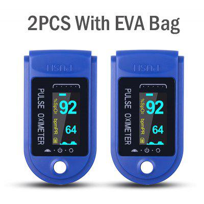 2PCS Digital Finger Oximeter Portable Electronic LED Display Fingertip Pulse Heart Rate Monitor Blood Saturation Meter With EVA Bag