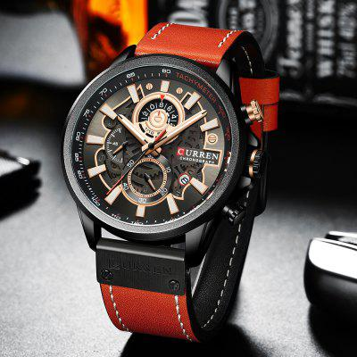 2021 CURREN Fashion Sport Watch Men Blue Top Brand Luxury Military Leather Wrist Watches Man Clock Casual Chronograph Wristwatch