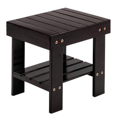 Children Small Seat Bench Stool Bamboo Wood Coffee Color 28 x 23 26cm