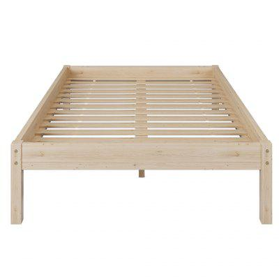 Bed Frame Wooden Slatted Double Base with Wood Legs Rustic Mattress Support Plateform for Bedroom