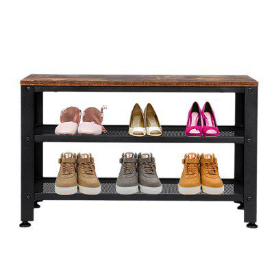 Industrial Shoe Bench 3-Tier Rack Storage Organizer with Seat for Entrywa  Living Room Hallway