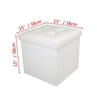 PU Leather Footstool with Buckle White 38by38by38cm