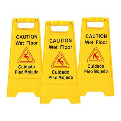 3pcs Wet Floor Warning Sign Safety Caution Board with English and Spanish Bilingual Stand Signs 24inch 20.32 by 29.21 by60.96cm
