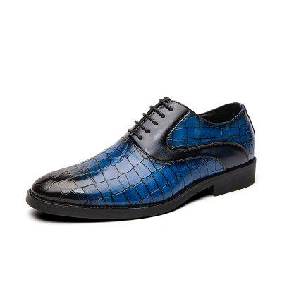 Plus Size 38-48 Italian Design Brand Casual Business Wedding Formal Dress Crocodile Pattern Genuine Shoes Lace Up Derby for Men