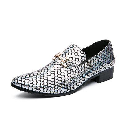 European and American Fashion Fish Scale Pattern Pointed Toe Large Size 38-48 Leather Shoes Men Wedding Catwalk for
