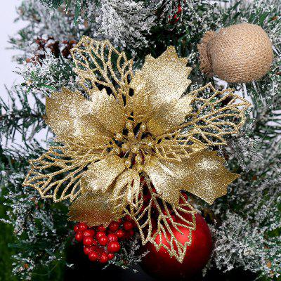 5Pcs Glitter Artificial Flowers Merry Christmas Ornaments Tree Decorations for Home New Year Wedding Party Decor