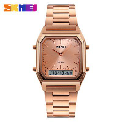 SKMEI 1220 Quartz Digital Wristwatches Men Fashion Casual Watch Stainless Steel Strap 30M Water Resistant Sports Watches