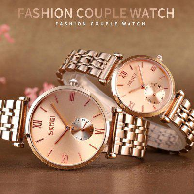 SKMEI Fashion Quartz Watches Mens Ladies Couple Wristwatches Simple Stainless Steel Strap Men Women Watch Hour reloj homb 9198