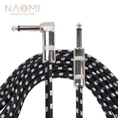 NAOMI 3 Meters/ 10 Feet Electric Guitar Cable Bass Musical Instrument Cord 1/4 Inch Straight to Right Angle Plug Black