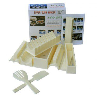 10 PCS Sushi Mold Multifunctional Making 5-in-1 Tool Set / Can Make 5 Different Shapes Rice Ball