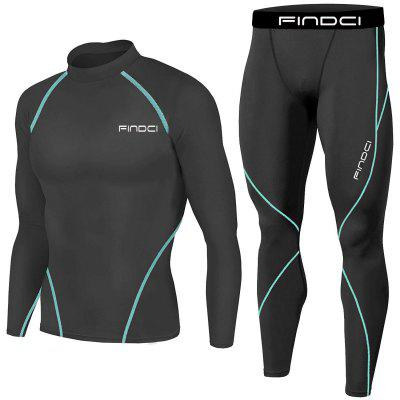 Findci Mens Sports Running Set Compression Shirt + Pants Skin-Tight Long Sleeves Quick Dry Fitness Tracksuit Gym Yoga Suits