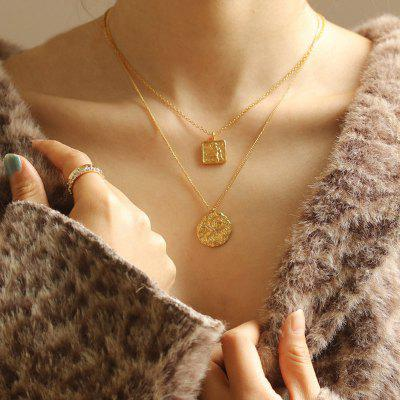 PUVOS Hot Style Necklace Square Pendant Baroque French Retro Simple Fashion Collarbone Chain