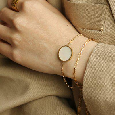 PUVOS Vacuum Plating Real Gold Simple French Retro Bracelet Fashion Temperament Round Shell