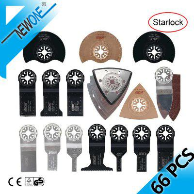 NEWONE 66pcs Starlock blade Oscillating Tool Saw Blades Set fit for Multi tool Cut Wood Plastic Polish Ceramic Tile Remove Dirty