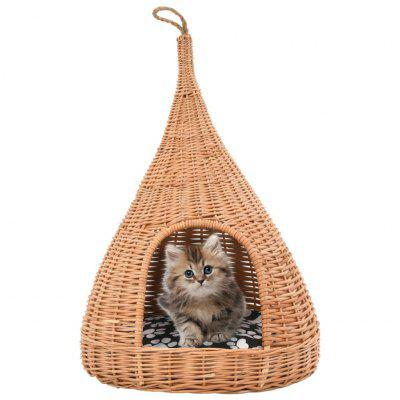 Cat House with Cushion 40x60 cm Natural Willow Teepee