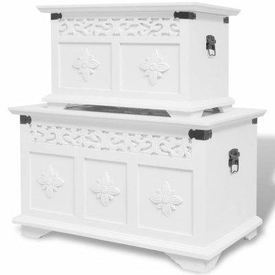 Two Piece Storage Chest Set White