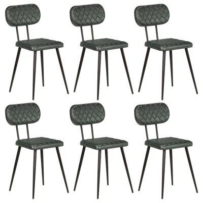 Dining Chairs 6 pcs Real Leather Grey