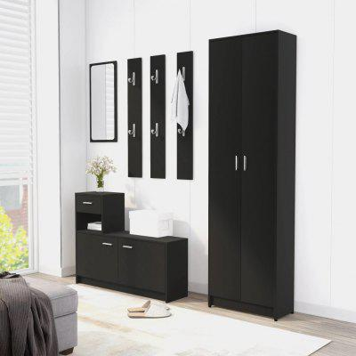 Hallway Wardrobe Black  Chipboard