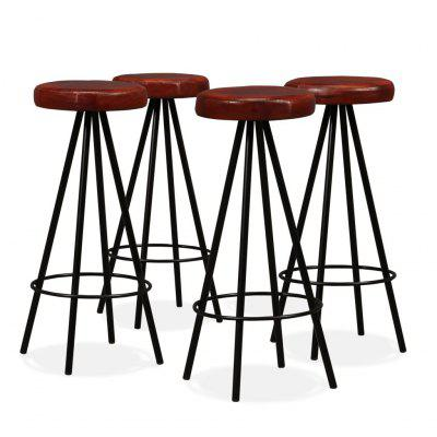 Bar Stools 4 pcs Genuine Leather and Steel