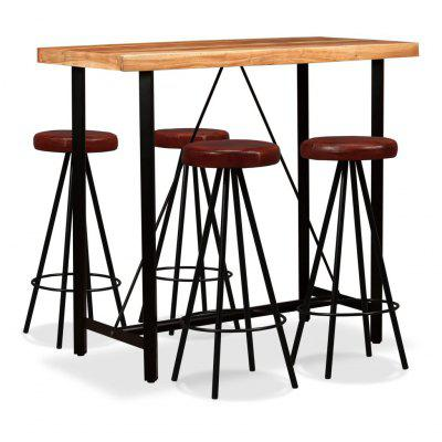 Bar Set 5 Pieces Solid Sheesham Wood and Genuine Leather
