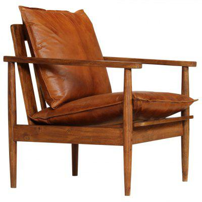 Armchair Real Leather with Acacia Wood Brown