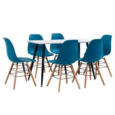 7 Piece Dining Set Plastic Black