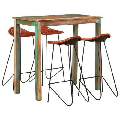 5 Piece Bar Set Solid Reclaimed Wood and Real Leather