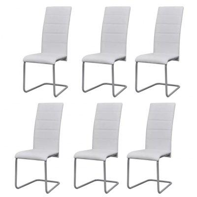 Cantilever Dining Chairs  6 pcs White Faux Leather