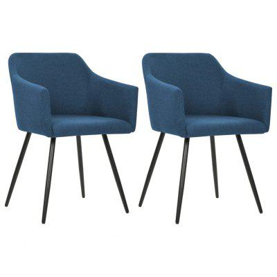 Dining Chair 2 pcs Blue Fabric