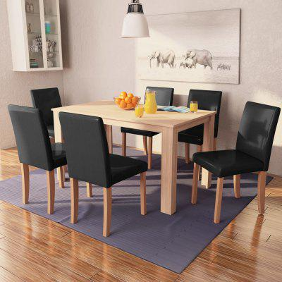 Dining Table and Chairs 7 Pieces Artificial Leather Oak Black