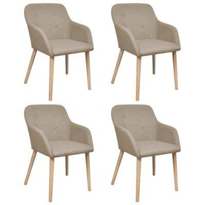 Oak Indoor Fabric Dining Chair Set 4 pcs with Armrest Beige