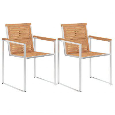 Garden Chairs 2 pcs Solid Acacia Wood and Stainless Steel
