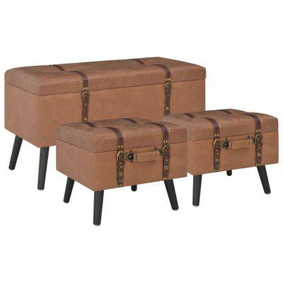 Storage Stools 3 pcs Tan Faux Leather