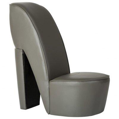 High Heel Chair Black Faux Leather