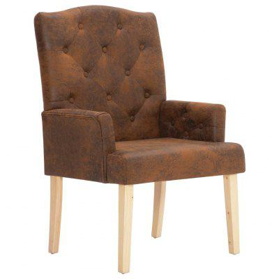 Armchair Brown Faux Suede Leather