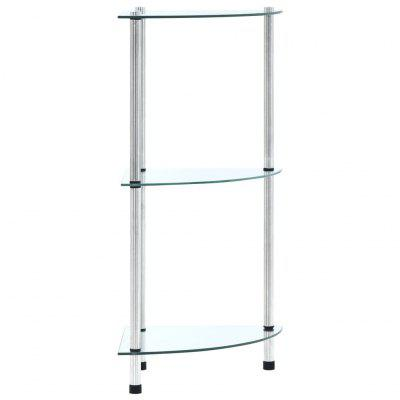 3Tier Shelf Transparent 30x30x67 cm Tempered Glass