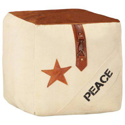 Pouffe Sand  40x40x40 cm Cotton Canvas and Leather