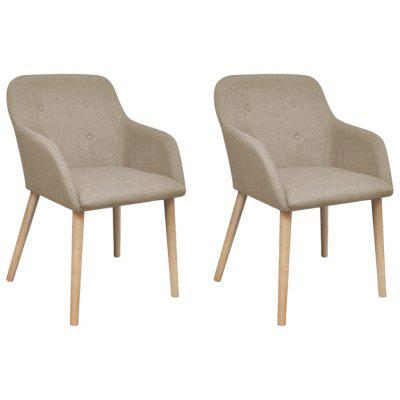 Oak Indoor Fabric Dining Chair Set 2 pcs with Armrest Beige