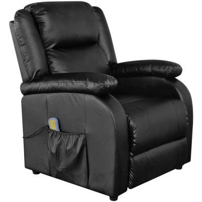 Black Electric Artificial Leather Massage TV Armchair