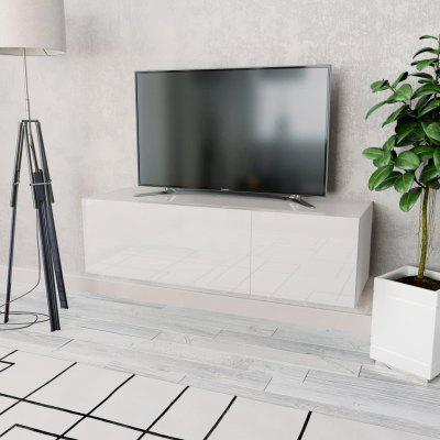 TV Cabinet Chipboard 120x40x34 cm High Gloss White