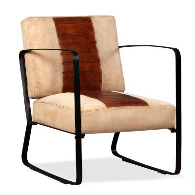 Lounge Chair Genuine Leather and Canvas Brown