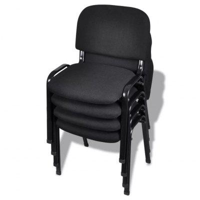 Stackable Office Chairs 4 pcs Fabric Black