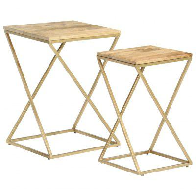 Side Tables 2 pcs Solid Mango Wood and Steel